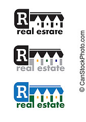 Real Estate Sign - abstract logo on real estate theme. Real...