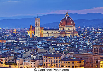 Florence - Image of Florence, Italy during twilight blue...
