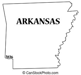 Arkansas State and Date - An Arkansas state outline with the...