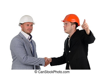 Architect welcoming a colleague and pointing - Young...