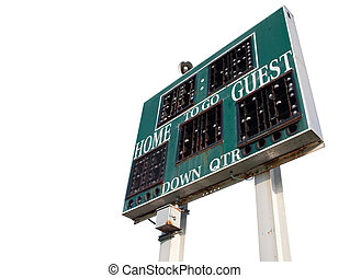 HIgh School Scoreboard Isolated on a White Background