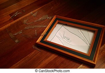 Shattered Glass Picture Photo Frame - Broken shattered...