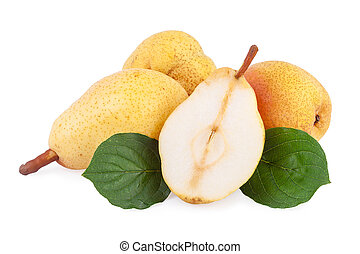 Pears with leaves isolated on white - Pears with leaves