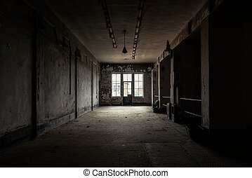 Dark and abandoned place - Dark and abandoned interior of a...