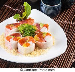 japoneses, cozinha, sushi, fundo