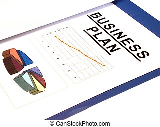 business plan over white background - business plan isolated...
