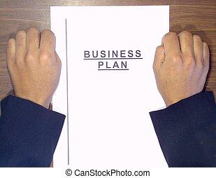 Manos, encima, empresa / negocio, plan
