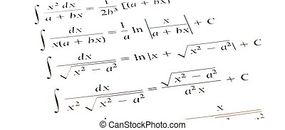 integral - mathematical calculations with integrals on white...