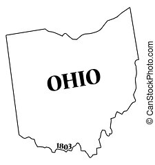Ohio State and Date - An Ohio state outline with the date of...