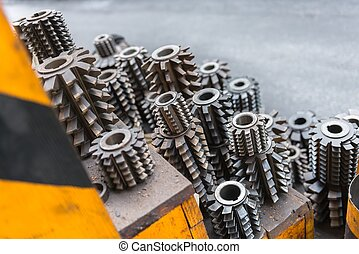 Industrial drill bits stacked up
