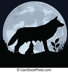 She-wolf. - Silhouette of a wolf and wolfling on the...