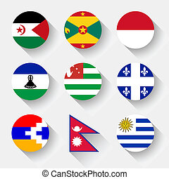 Flags of the world, round buttons - Flags of the world, set...