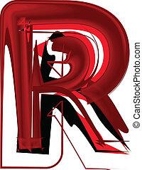 Artistic font letter R