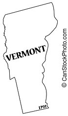 Vermont State and Date - A Vermont state outline with the...