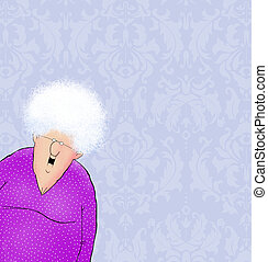 Happy Old Lady with Damask Wallpaper and Room For Text
