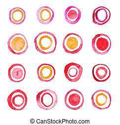 Hand draw watercolor rings circle round stains art paint