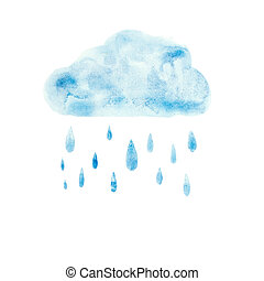Hand draw aquarelle art paint blue watercolor cloud rain...