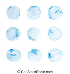 Abstract watercolor aquarelle hand draw circle blue art...