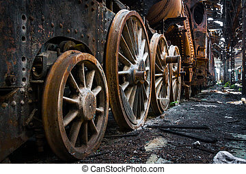 Part of an old industrial train closeup
