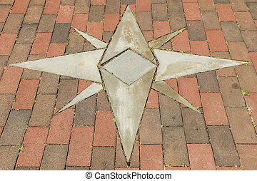 Star Design - Brick walkway with inlaid eight point star...