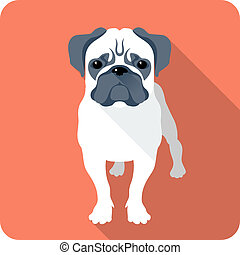 dog icon flat design  - dog Pug icon flat design