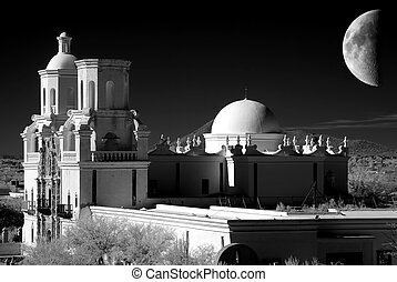 San Xavier Mission and moon in black and white
