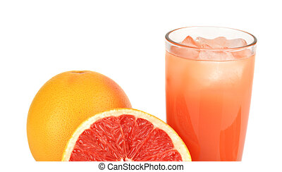 Cropped image sliced two grapefruits with juice isolated...