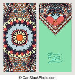 decorative label card for vintage design, ethnic pattern -...