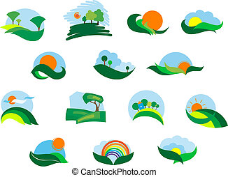 Summer and autumn agricultural landscape icons set with...