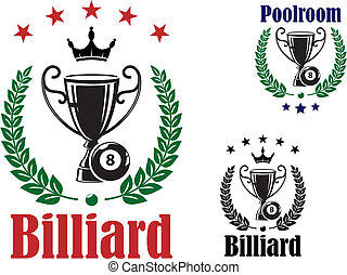 Billiard trophy cup emblem or symbol with ball and laurel...