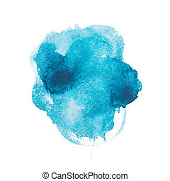 Abstract watercolor aquarelle hand drawn blue art paint on...