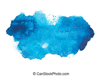 Blue colorful abstract hand draw watercolour aquarelle art...