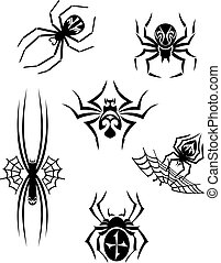 Black danger spiders set