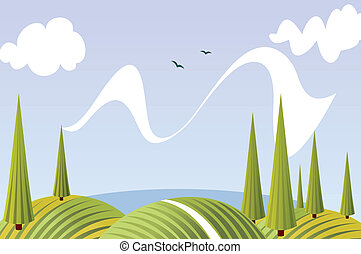Cartoon summer fields and meadows landscape with sky, lake,...