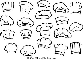 Chef toques and hats set isolated on white for restaurant,...
