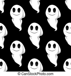 Halloween ghosts seamless pattern background