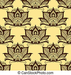 Persian brown paisley seamless floral pattern - Seamless...