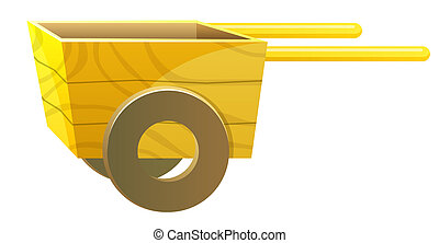 wood cart - a empty wood cart isolate in a white background