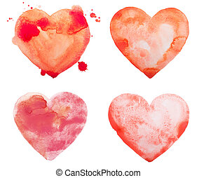 Hand draw watercolor aquarelle art paint love red heart with...