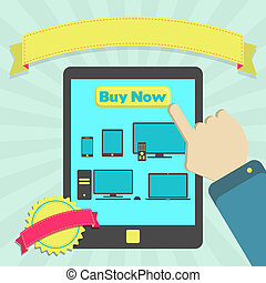 Buy electronic equipment online through mobile. Colorful...