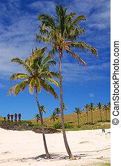 Caleta Anakena - Moai and palm trees at Caleta Anakena,...