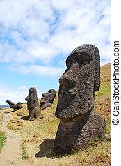 Easter Island moai at Rano Raraku - Rano Raraku quarry where...