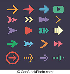 Set arrow icons, flat UI design trend vector