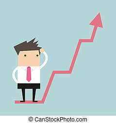Businessman on growing graph