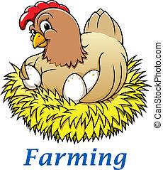 Cartoon hen character - Cartoon happy hen character with...
