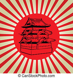 Japan Osaka castle on sun flag vector