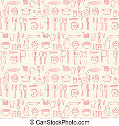 Doodle kitchen seamless vector