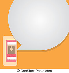 Mouth talking with bubble speech vector