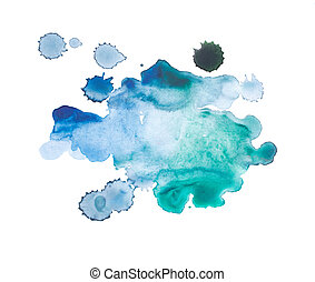 Abstract watercolor aquarelle hand drawn blue art paint on white background
