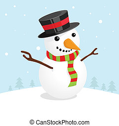 Christmas card with a cute snowman